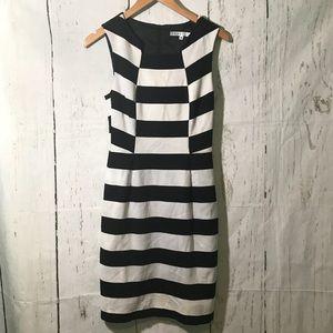 Trina Turk Marsha Black White Stripe Dress size 4